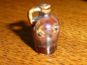 Antique Miniature Handled Beehive Pottery Whiskey Jug Doll House Accessory 13/16