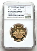 Bolivia 1979 Year Of Child 4000 Pesos Ngc Pf69 Gold Coin,proof