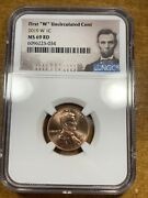 2019-w 1c Lincoln Shield Cent Ngc Ms69rd