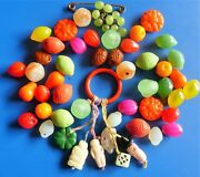 Antique Vintage Molded Glass Beads Jewelry Lot Perles Anciennes Tutti Frutti