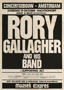 Rory Gallagher 1974 Original Amsterdam, The Netherlands Concert Poster