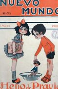 Girl And Boy Washing Doll In Tub 1916 Spanish Magazine Art Cover Matted