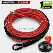 1/4 X 50and039 Red Synthetic Winch Rope Nylon Line Cable 7000 Lb + Stopper Atv Utv