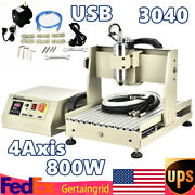 Cnc Router 4axis 3040 Engraver Dril Milling Machine Spindle Motor Vfd Usb 800w