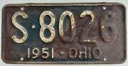 Collectable Vtg 1951 Ohio License Plate S 8026 White On Blue Rustic