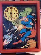 1978 Superman Wall Clock -new Haven For Super Time Inc 12x15 So Clean And Works