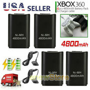4x Rechargeable Battery Pack Charger Cable Dock For Xbox 360 Wireless Controller