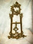 Antique Ornate Brass Table Easel Large French Farmhouse Art Display Victorian