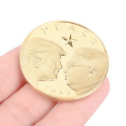 Us President Donald Trump And Kim Jong-un Peace Gold Plated Challenge Coin .j