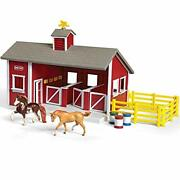 Breyer Stablemates Red Stable And Horse Set | 12 Piece Play Set With 2 Horses...