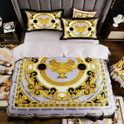Yellow Pattern Print 4pcs King Queen Size Quilts Gold Bed Sheet Luxury Bed Sets
