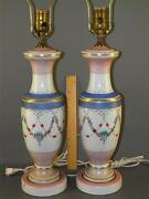Antique Pr. Victorian Milk Glass Hand Painted Classic Floral Garland Table Lamps