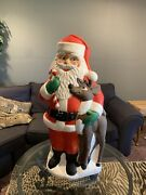 """Vntg 2000 Christmas Santa With Reindeer And Candy Cane Blow Mold 40"""""""