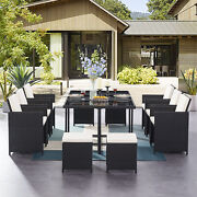 Tribesigns 11 Pcs Patio Dining Sets W/ Glass Table Outdoor Wicker Furniture Set