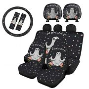 Cute Sloth Car Seat Cover Front Rear Full Set Combo With Headrest,steering Wheel