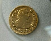 1778 Gold Spanish Doubloon Carol Charles Iii Coin. S-cf. 1/2 Escudo .901