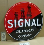 Signal Oil And Gas - Service Station - Shows 3 Oil Wells - Big 23 Round Pole Sign