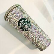 Custom Starbucks Coffee Tumbler Cup Clearab Crystal Bling Cup With Straw