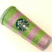 Custom Starbucks Coffee Tumbler Cup Pink Green Aka Crystal Bling Cup With Straw