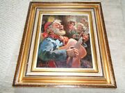 Original Giovanni Madonini Oil Painting Old Man Bar Scene Playing Guitar Red Hat