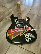 Six Flags Stratocaster Electric Guitar 6 String Black Six Flags Logo Read