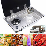 Boat Rv Camper Burner Gas Stove Hob And Sink Combo Andglass Lid And Faucet Cooktop
