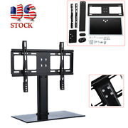 Table Top Tv Stand Base W/ Universal Bracket Mount Height Adjustable For 26-32