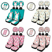 Cute Alpaca Full Set Of Car Seat Covers Front Rear With Headrest,steering Wheel