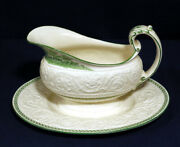 Vtg Antique Wedgwood China Torbay Patrician Green Gravy Boat Attached Underplate