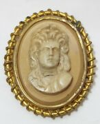 Large Old Antique Victorian Carved Lava Cameo Brooch Relief Bust Gold Filled