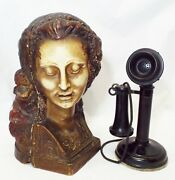 Rare Old 1917 L C Mayer Euphonia Hide A Phone Candlestick Phone Cover W/ Phone
