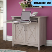 Secretary Desk W/ Keyboard Tray Accent Chest Storage Cabinet Laptop Table Gray