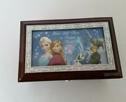 Frozen Elsa And Anna Music Let It Go Small Wood Jewelry Box By Bradford Exchange