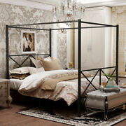 Queen /full/twin Size Metal Canopy Bed Metal Four Post Frame Platform Headboard
