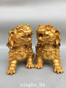 9.2 Chinese Old Antique Dynasty A Pair Exquisite Bronze Gilt Lion Statue