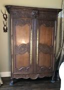 Antique French Armoire Hand Carved Basket Scalloped Raised Paneland039s 1800and039s