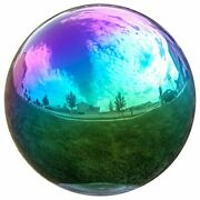 Lily's Home Gazing Globe Mirror Ball In Rainbow Stainless Steel - 12 Inch New