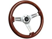 Vsw 6-bolt Mahogany Wood Steering Wheel With Brushed Horn Button