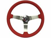 1967 - 1968 Gm Resto Series Red Leather Steering Wheel Stainless Kit