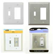 1 Toggle 1 Rocker Decora Combination Outlet Switch Wall Plate Cover Nickel Lot