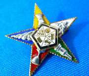 Real Art Deco 20s Fine Order Of The Eastern Star 14k Gold Masonic Pin Or Pendant
