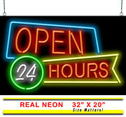 Open 24 Hours Neon Sign | Jantec | 32 X 20 | Late All Night Neon Light Diner