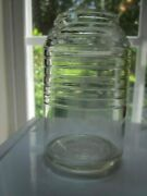 Glass Bottle Jar Oval Ribbed 4-1/4 T 8 Oz Seamed Marked 2 No Lid Collectible Vg