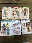 Vintage 1970and039s Lot Of 6 Sewing Patterns Childrenand039s Butterick Simplicity
