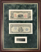 1901 10 Bison Note And 1899 5 Oncpapa Silver Certificate Currency Display
