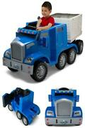 Semi Truck And Trailer Ride On Toy Blue Removable Trailer With Dual Hinged Kids