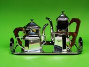 A Brazilian Art Modern Silver Plate Tea And Coffee Service On Tray By St. James.