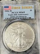 2006 W Burnished Silver Eaglepcgs Ms69flag Fsfrom Rare 20th Anniversary Set