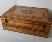 Jewelry Document Travel Box With Drawer Antique Inlaid Velvet Lined 22 X 16 X 8