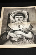 Little Mother Hubbard Pretty Girl W Cute Puppy In Her Lap 1882 Med. Folio Print